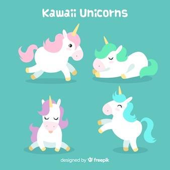 Kawaii einhorn-charaktersammlung