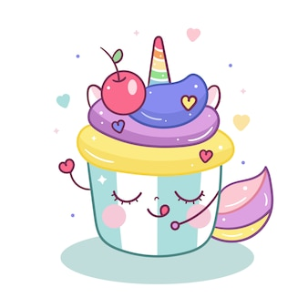 Kawaii einhorn mit süßer kuchenkarikatur