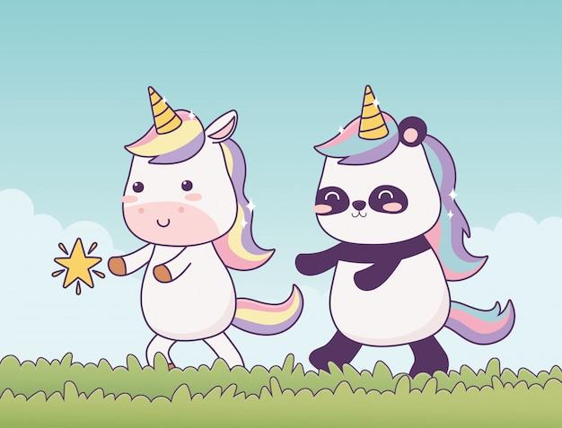 Kawaii einhorn und panda im gras mit magischer fantasie der sternzeichentrickfigur