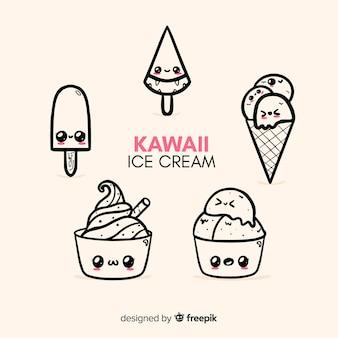 Kawaii-eiscreme-charaktersammlung