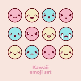 Kawaii emoji set