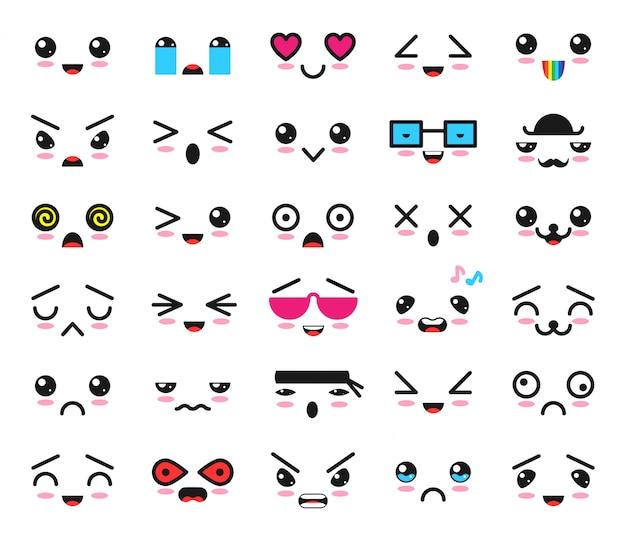 Kawaii emoticon cartoon emotion charakter mit gesichtsausdruck illustration emotionalen satz