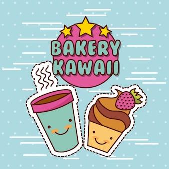 Kawaii essen mit hintergrund