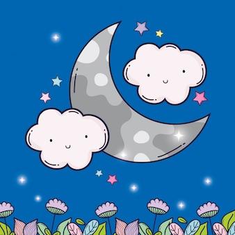 Kawaii flauschige wolken mit mond und blumen