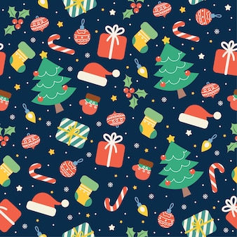 Kawaii frohe weihnachten nahtloses muster