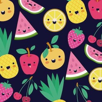 Kawaii früchte muster