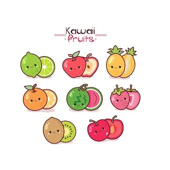 Kawaii früchte niedlichen stil
