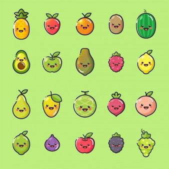 Kawaii fruits maskottchen set