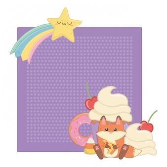 Kawaii fuchs cartoon und desserts