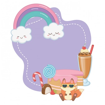 Kawaii fuchs cartoon und desserts