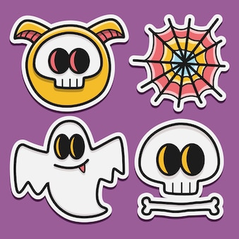 Kawaii gekritzel cartoon halloween aufkleber design illustration