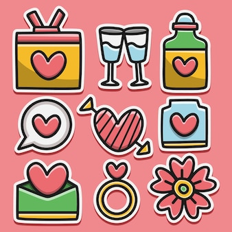 Kawaii gekritzel cartoon valentin aufkleber design illustration