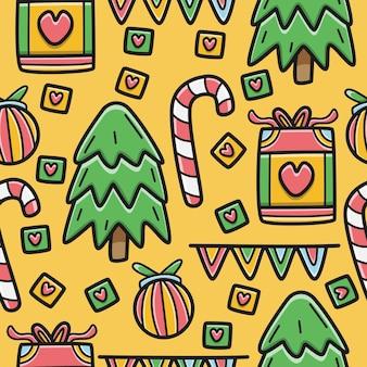 Kawaii gekritzel cartoon weihnachtsmuster design illustration