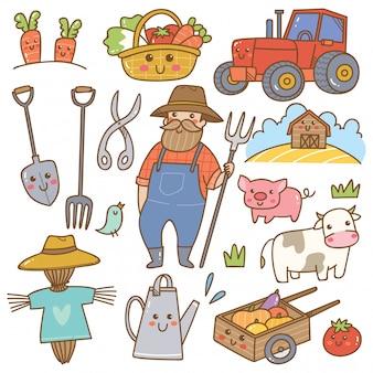 Kawaii gekritzel des landwirts und der landwirtschaftlichen ausrüstung