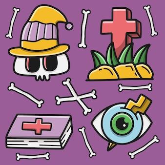 Kawaii gekritzel halloween cartoon design