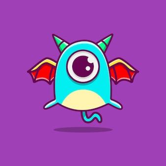 Kawaii gekritzel monster zeichentrickfigur