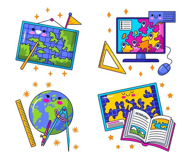 Kawaii geografie-sticker-sammlung