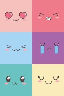 Kawaii gesichts entzückender ausdruck emoticon cartoon zeichensatz