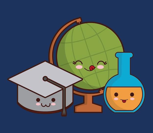 Kawaii graduierung kappe flasche flasche und erde planeten