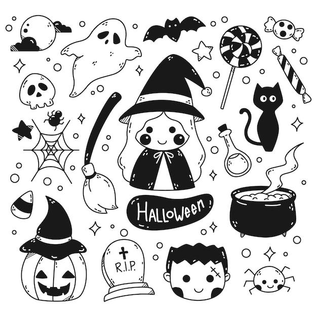 Kawaii halloween doodle strichzeichnungen isoliert auf weißem hintergrund