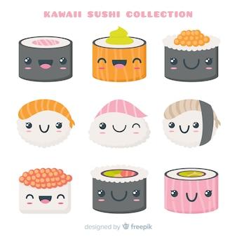 Kawaii hand gezeichnete sushi-sammlung