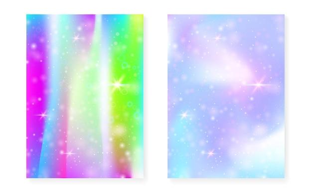 Kawaii hintergrund mit regenbogenprinzessinsteigung. magisches einhorn-hologramm. holographisches fee-set. helles fantasy-cover. kawaii hintergrund mit funkeln und sternen für süße mädchenpartyeinladung.