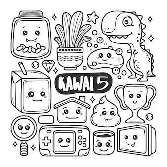 Kawaii icons hand gezeichnete doodle färbung