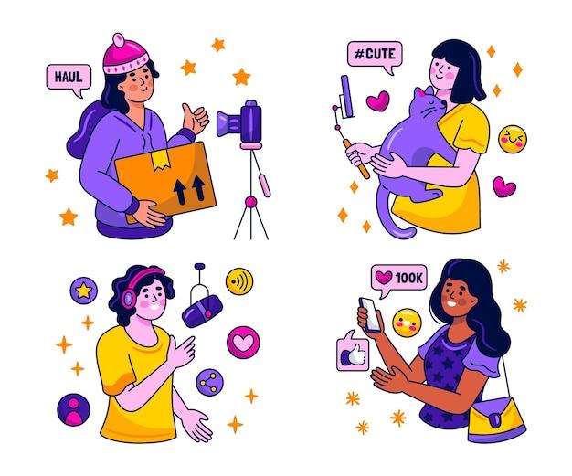 Kawaii influencer sticker sammlung