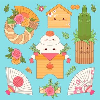 Kawaii japanisches neujahrsdekorationsset
