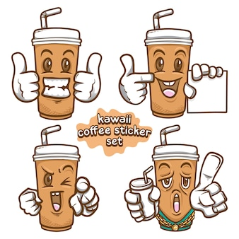 Kawaii kaffee illustration emoji aufkleber set