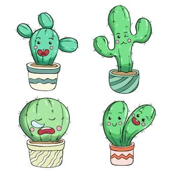 Kawaii kaktus mit süßem gesicht