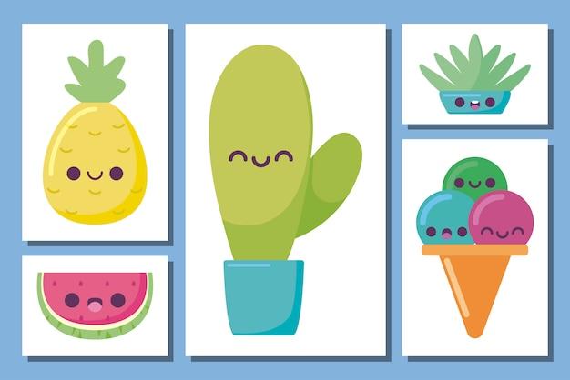Kawaii-kaktus und gesetzte karikaturen der ikone