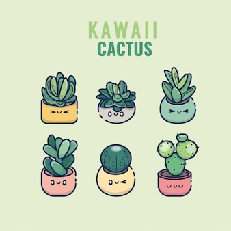 Kawaii-kaktus und saftige hand gezeichnet gesetzt in den bunten niedlichen pflanzen der töpfe