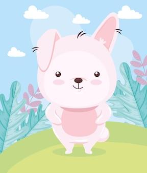 Kawaii kaninchen tierkarikatur auf landschaftsillustration