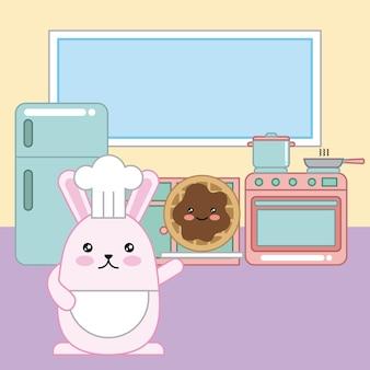 Kawaii kaninchenchef, der plätzchen in der küchenkarikatur hält