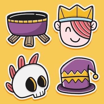 Kawaii karikatur halloween aufkleber design illustration