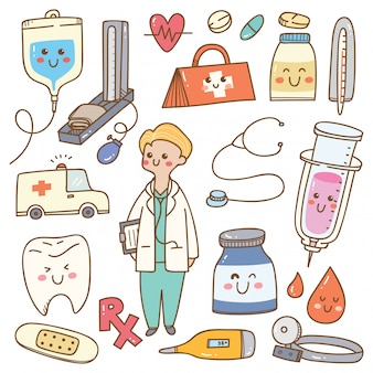 Kawaii karikaturdoktor mit medizinischer ausrüstung