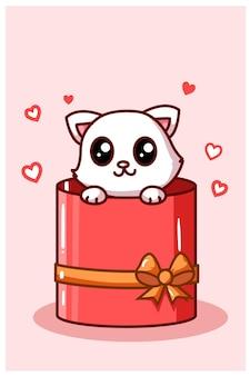 Kawaii katze in der valentinsbox präsentieren karikaturillustration