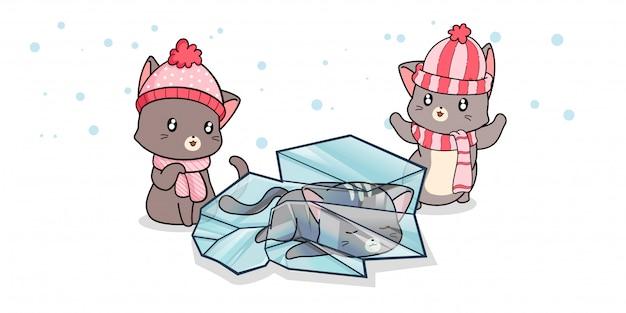 Kawaii katze innerhalb eines eises mit freunden am wintertag