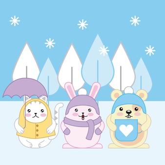 Kawaii katze kaninchen und maus mit winterkleidung cartoon