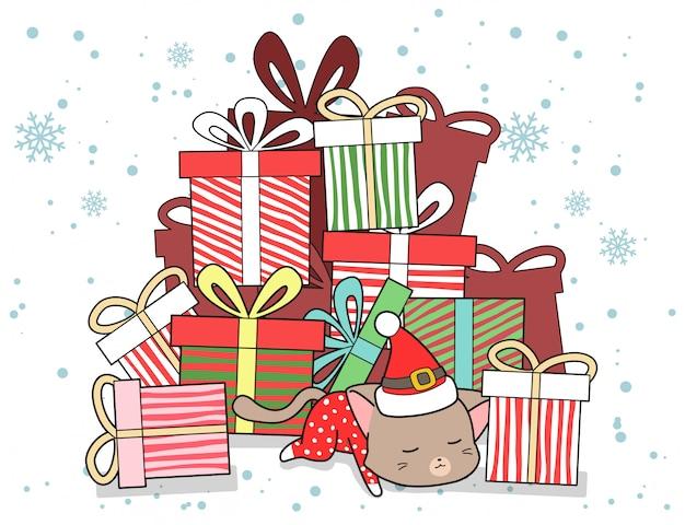 Kawaii katze und viel geschenk am weihnachtstag