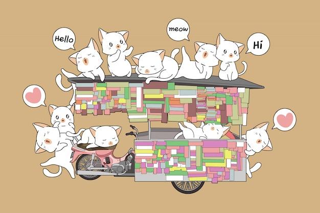 Kawaii katzen auf dem tragbaren stall