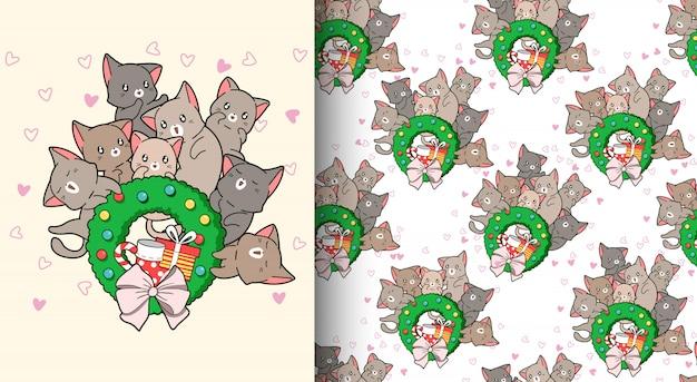 Kawaii katzen des nahtlosen musters lieben weihnachtstag
