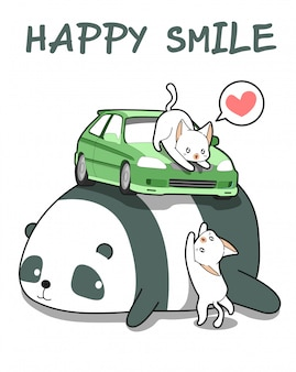 Kawaii katzen mit dem auto auf riesenpanda