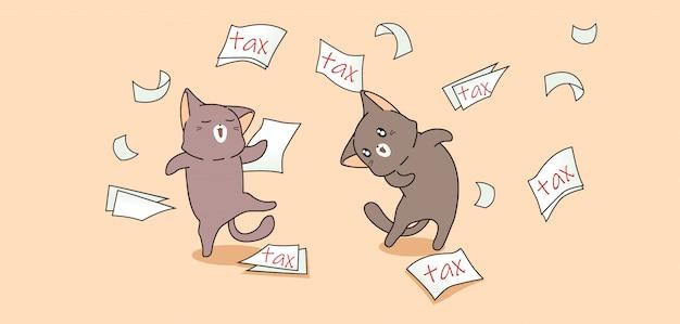 Kawaii katzen mit steuerpapier