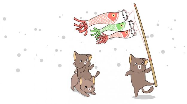 Kawaii katzen spielen mit papierkarpfen auf einem stock