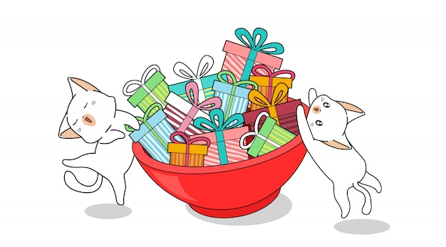 Kawaii katzen und geschenke, die in der schüssel