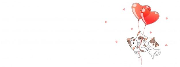 Kawaii katzen und herz steigt illustration im ballon auf
