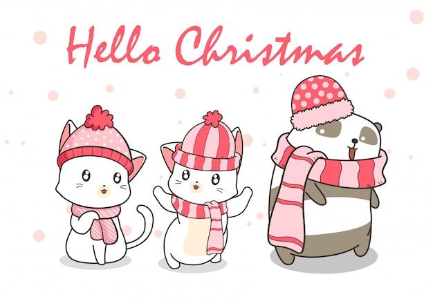 Kawaii katzen und panda im winterkleid