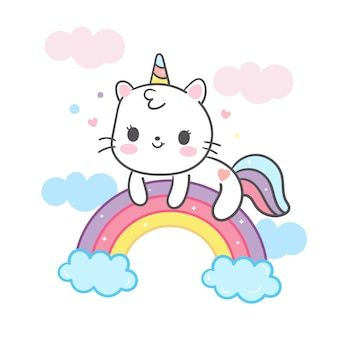 Kawaii katzenkarikatur im einhorn auf regenbogen